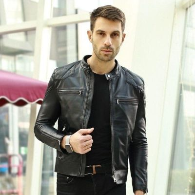 Mens Casual Zip Up Slim Bomber Faux Leather Biker Jacket