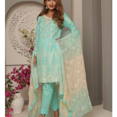 Embroidered With Boring Incorporated Lawn M.I 15-G