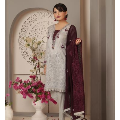 Embroidered With Boring Incorporated Lawn M.I 15-I