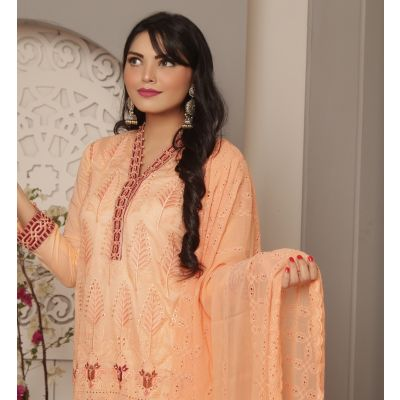 Embroidered With Boring Incorporated Lawn M.I 15-B