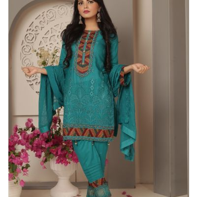 Embroidered With Boring Incorporated Lawn M.I 15-C