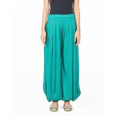 The-Ajmery Green Viscose Harem Pants for Women - AJ-0981.. Green