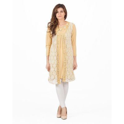 The-Ajmery Beige Linen Long Tunic With Crochet On Front - KTY-120-BEGT
