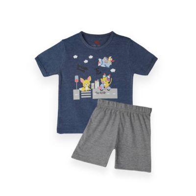 AllureP T-Shirt HS D Blue Animals Grey Shorts