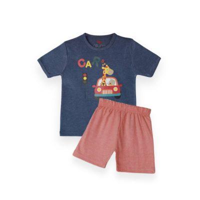 AllureP T-Shirt HS D Blue Car LO Shorts