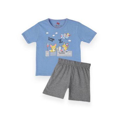 AllureP T-Shirt HS L Blue Animals Grey Shorts