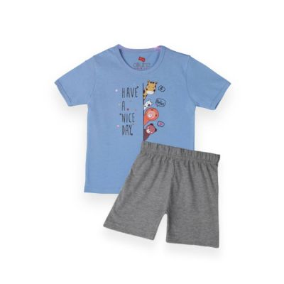 AllureP T-Shirt HS L Blue Nice Day Grey Shorts
