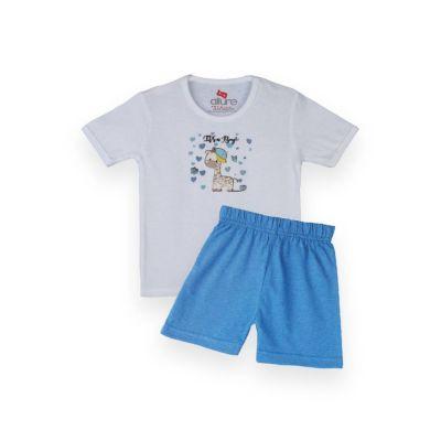 AllureP T-Shirt HS White Its A Boy Blue Shorts