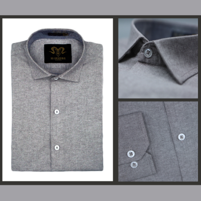Ash Grey Chambray Cotton Slim Fit Formal Shirt For Men