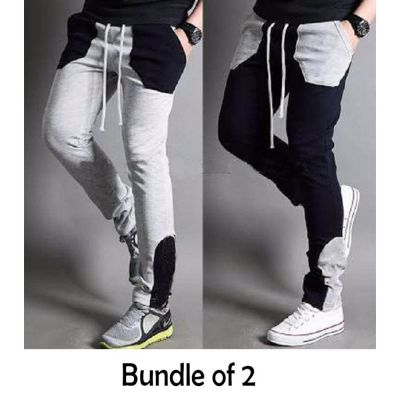 The-Ajmery Pack Of 2 Contrast Color Sweatpants For Mens. CCS-103 Grey / Navy