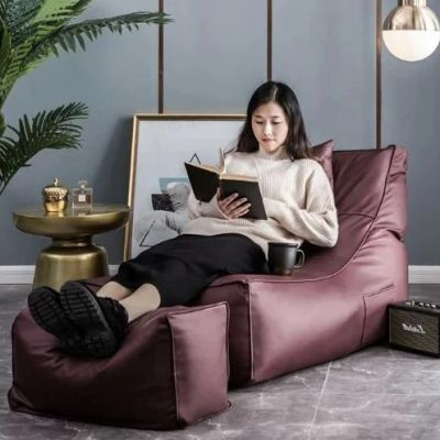 Soft Purple Bean Bag Sofa Set (Free Footrest)