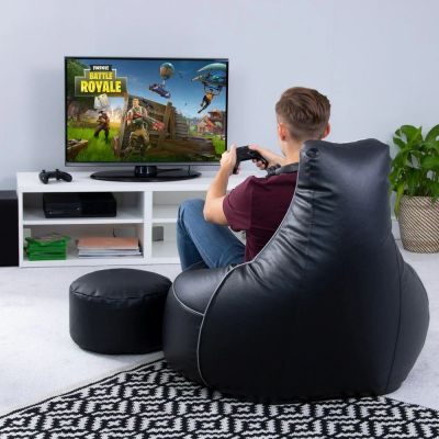 Elite Gaming Leather Bean-Bag Sofa with Stool