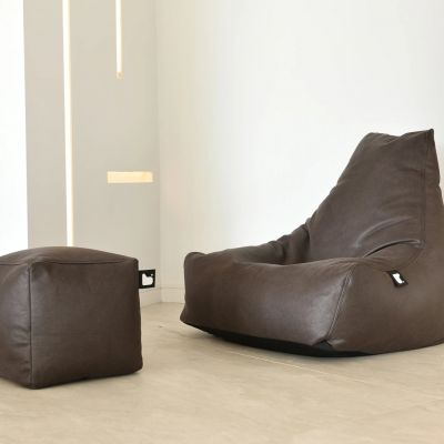OSLO Lounger Leather Stitched Sofa with Stool