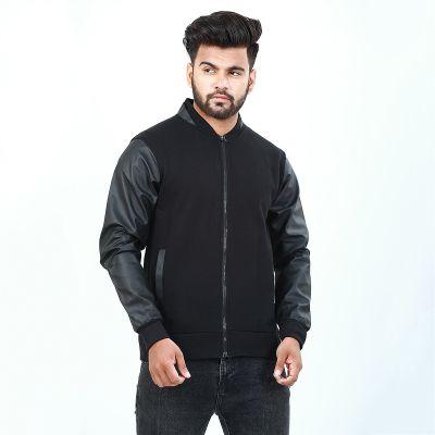 Black Leather Sleeves Jacket For Men