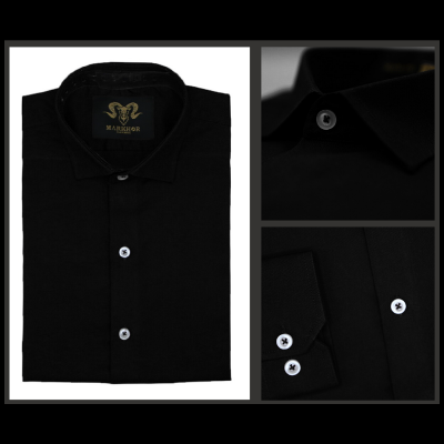 Black Royal Chambray Cotton Slim Fit Formal Shirt For Men