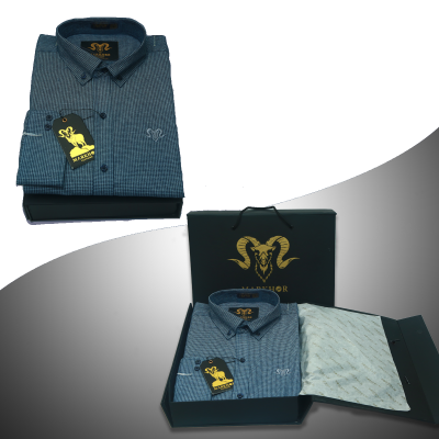 Blue Check Denim Casual Shirt For Men