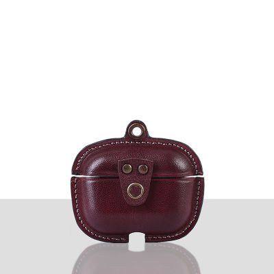 Stefano Veg Tanned Leather Luxury Protective Cover Case for Apple Airpods Pro 3  Bordo