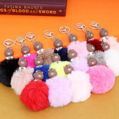 Brown Bear Character Fluffy Ball hanging Keychain