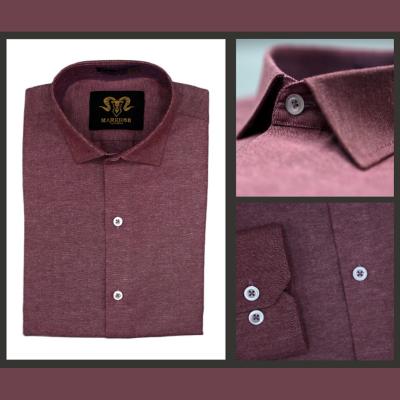 Burgundy Chambray Cotton Slim Fit Formal Shirt For Men