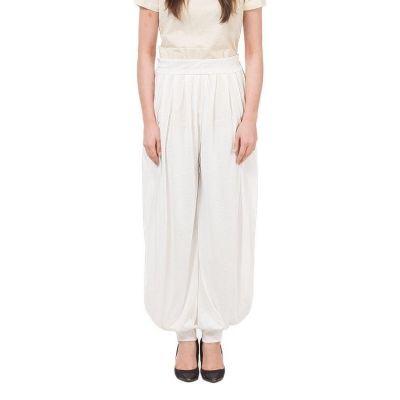 The-Ajmery White Viscose Harem Pants For Women White