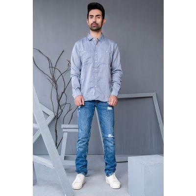 Ignite Mens Chambray Cotton Blend Casual Shirt
