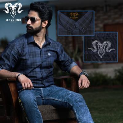 Blue Chess Check Denim Cotton Shirt For Men