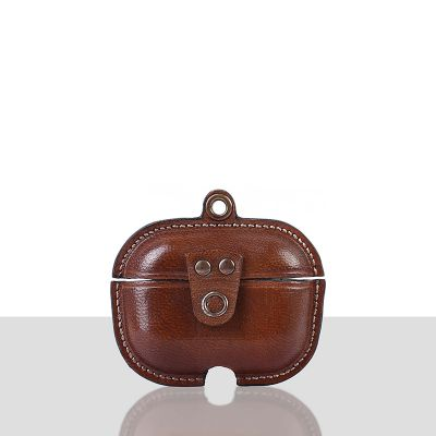 Stefano Veg Tanned Leather Luxury Protective Cover Case for Apple Airpods Pro 3  Cognac