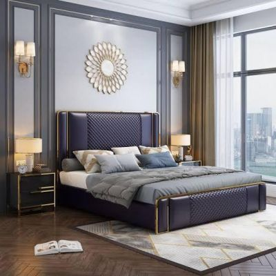 King Size Modern Bed with 2 side Tables