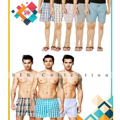 Pack of 06  Multicolored Checkered Exported Woven Boxer For Men