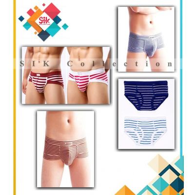 Pack of 5  Imported Multicolored Stripe Cotton Underwear For Men