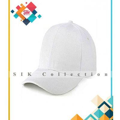Pack of 1  White Cotton Baseball Caps Adjustable For Men