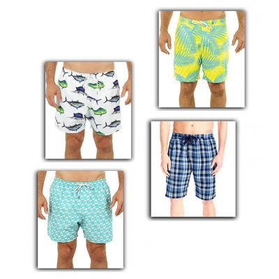Pack of 4 Printed Beach Shorts For Men