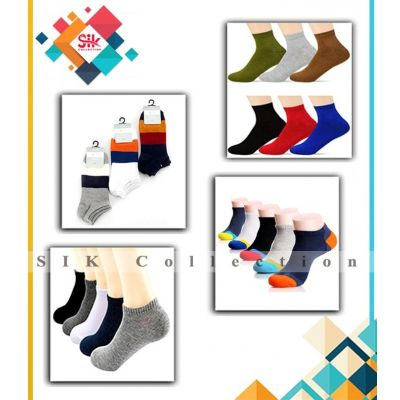 Pack of 12  Multicolored Cotton Branded Ankle Socks for Mens