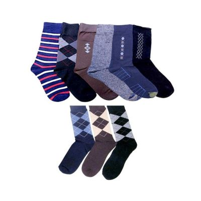 Pack of 9  Multicoloured Cotton Mens Dress Socks