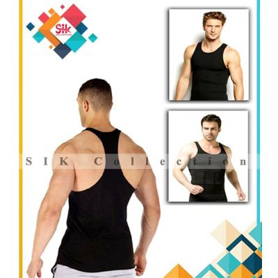 Gym Vest Black Cotton Sleeveless Box Packed For Men