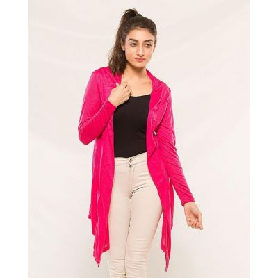 The-Ajmery Pink Cotton Jersey Shrug For Women Pink
