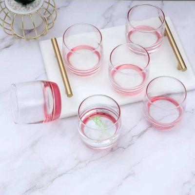 Faint Pink Base Natural Lucid Glass Set-6 Pcs