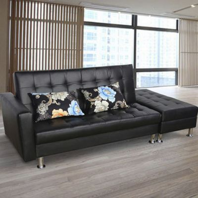 Black Leatherright 5 seater sofa set
