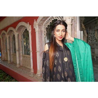 Black Lilly Ly01 Viscose Suit  Shirt Shalwar Dupatta