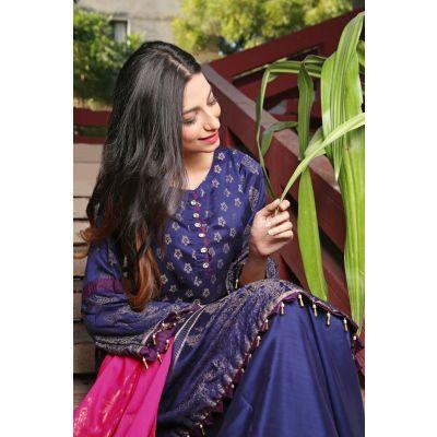 Blue Lilly   Viscose Suit  Shirt Shalwar Dupatta Ly04