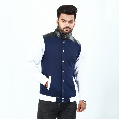 Leather Collar With Front Button Jacket For Men