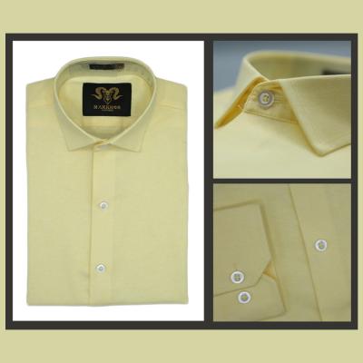 Lemon Yellow Chambray Cotton Slim Fit Formal Shirt For Men