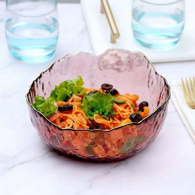 Moderno Pearl Glass Large Serving Salad Bowl-Pink