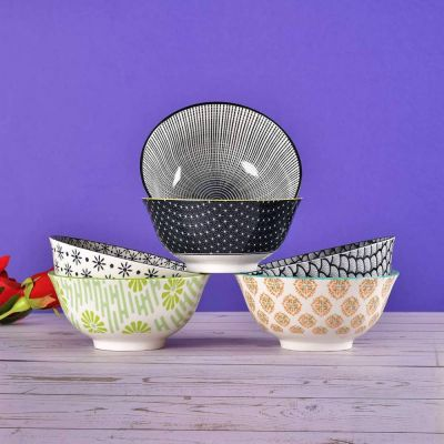 Multi-Color Classic Serving Bowls Pack of 6
