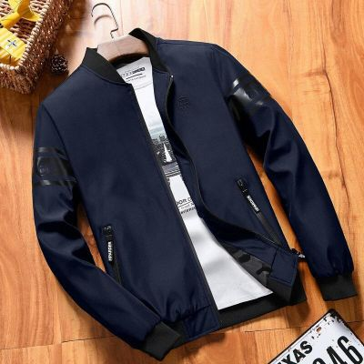Navy Blue Baseball Jacket With Rubber Print Sleeve For Men