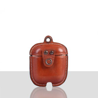 Mario Veg Tanned Leather Luxury Protective Cover Case for Apple Airpods 1 & 2  Orange