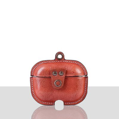 Stefano Veg Tanned Leather Luxury Protective Cover Case for Apple Airpods Pro 3  Orange