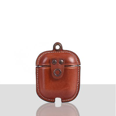 Mario Veg Tanned Leather Luxury Protective Cover Case for Apple Airpods 1 & 2  Peach