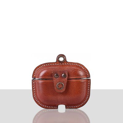 Stefano Veg Tanned Leather Luxury Protective Cover Case for Apple Airpods Pro 3  Peach