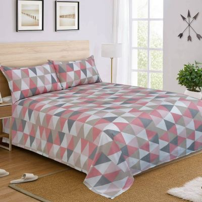Premium Quality Cotton Satin King Size Bedsheet Set 3 Pcs- Red Triangle (Thread Count 250)
